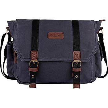 Amazon.com: Tocode Canvas Messenger Bag Shoulder Bag Laptop Bag ...