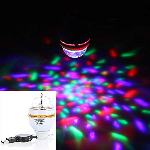 LED Bulb with USB Interface 3W Auto Rotating Portable DJ KTV dancing hall family parties RGB Stage Light white & orange Shell