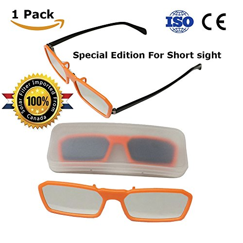 Clip On Solar Eclipse Glasses -- Perfect for Wearing Over Prescription Glasses -- CE and ISO Certified -- Limited Edition (1 Pack - Clip - The Sunglasses Eclipse
