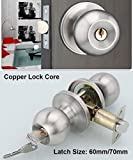 Entracne Passage Door Handle Lock Knobs Lockset - Key Locking - Copper Lock Core - Latch Size 60/70mm