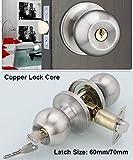 Entracne Passage Door Handle Lock Knobs Lockset - Key Locking - Copper Lock Core - Latch Size 60/70mm
