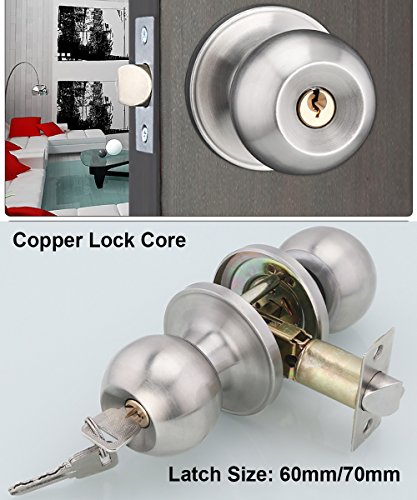 Entracne Passage Door Handle Lock Knobs Lockset - Key Locking - Copper Lock Core - Latch Size (Privacy Key)