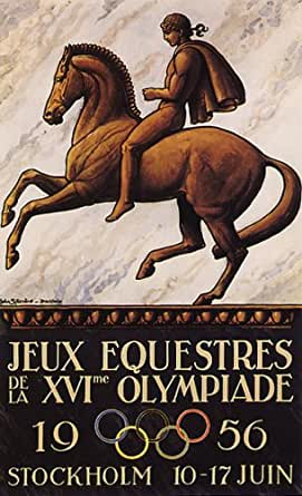 """JEUX EQUESTRES XVI OLYMPIADE 1956 STOCKHOLM OLYMPIC GAMES HORSEBACK RIDING 10"""" X 16"""" VINTAGE POSTER REPRO"""