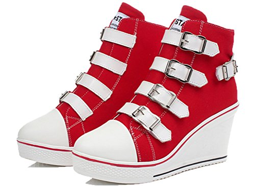 Zeppe In Tela Da Donna, Scarpe Da Ginnastica Casuali Sneakers In Plastica A 4 Colori Rosso