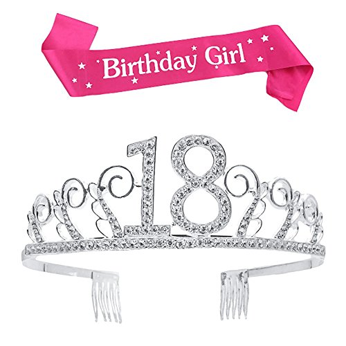 BUYITNOW Birthday Girl Sash and Tiara, Happy Birthday Party Supplies, Favors, Decorations 18th, 20th, 21th, 30th, 40th, 50th, 60th Birthday