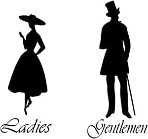 CHDHALTD Man Woman Toilet Decal, Removable Bathroom Washroom WC Sign, Restroom Decor Art Wall Home Kids Room Living Office Decoration Stickers