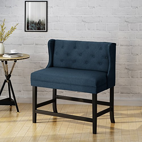 Christopher Knight Home 304377 Paulina Winged Tufted Fabric 2 Seater 28 Inch Barstool, Navy Blue, Dark Brown For Sale