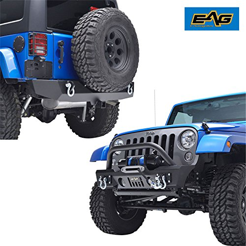 EAG 07-18 Jeep Wrangler JK Front Bumper with OE Fog Light Housings Winch Plate and Rear Bumper with 2'' Hitch Receiver Combo-Textured Black - 2' Front Receiver Hitch