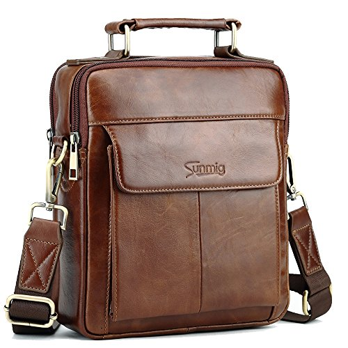 Sunmig Men's Genuine Leather Shoulder Bag Messenger Briefcase CrossBody Handbag (Brown)