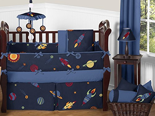 Sweet Jojo Designs Space Galaxy Rocket Ship, Planet, Galactic 9 Piece Baby Boy or Girl Bedding Crib Set (Outer Space Hamper compare prices)
