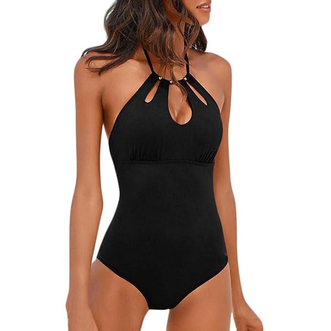 enorme sconto 7fa7e 059ea Rcool Costume da Bagno Donna Sexy Costume Intero Costumi da Bagno Un Pezzo  Elegante Bikini Siamese 2019 Tinta Unita Cavo Push-Up Monokini 2 Colore ...