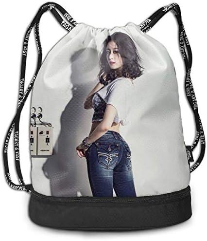 メンズ レディース 兼用t-Ara Park Ji Yeon2 ナップサック アウトドア ジムサック 防水仕様 バッグ 巾着袋 スポーツ 収納バッグ 軽量 バッグ 登山 自転車 通学・通勤・運動 ・旅行に最適 アウトドア 収納バッグ