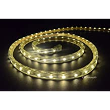 Cbconcept 120VSMD3528-6.5M-WW 20-Feet Warm White 120 Volt LED SMD3528 Flexible Flat LED Strip Rope Light, 3/8-Inch Width x 1/4-Inch Thickness