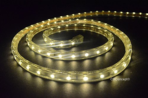 16' Rope Light (CBConcept UL Listed, 16.4 Feet, 1800 Lumen, 3000K Warm White, Dimmable, 110-120V AC Flexible Flat LED Strip Rope Light, 300 Units 3528 SMD LEDs, Indoor/Outdoor Use, Accessories Included,[Ready to use])