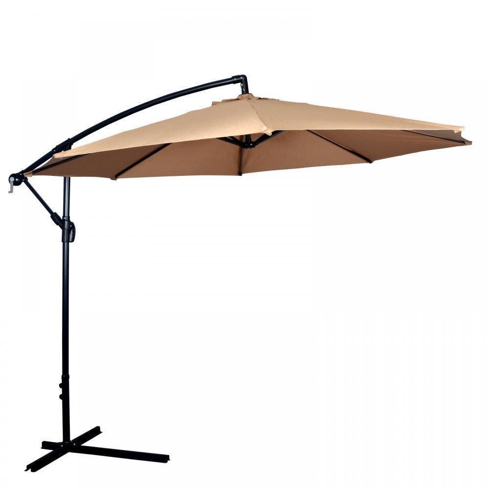 Wakoola New Tan Patio Umbrella Offset 10' Hanging Umbrella Outdoor Market Umbrella D10