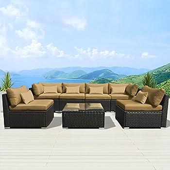 Modenzi 7G U Outdoor Sectional Patio Furniture Espresso Brown Wicker Sofa  Set (Dark Beige
