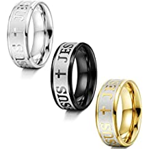 Jstyle 3PCS Stainless Steel Mens Womens Ring Christian Cross Ring Band Jesus Rings