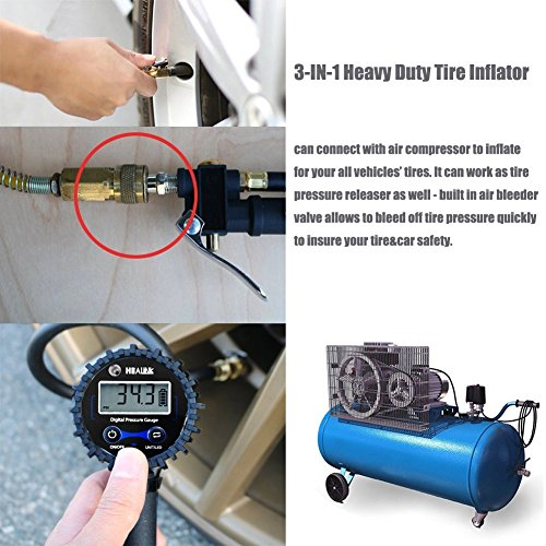 200PSI Air Chuck Heavy Duty Compressor Accessories with Stainless Hose and Quick Connect Plug for Car Bike Motorcycle Truck Digital Tire Inflator with Pressure Gauge SUV
