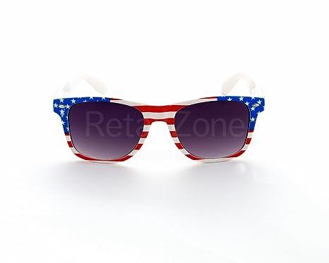 6512751097b37 USA Stars   Stripes Wayfarer Aviator Sunglasses Retro 80 s Fashion  Wayfarers Geek Tint Lenses  Amazon.co.uk  Clothing