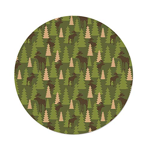 (Polyester Round Tablecloth,Deer,Animals in the Forrest Mooses and Pine Trees Pattern Canada Foliage Mammal Design,Green Tan Brown,Dining Room Kitchen Picnic Table Cloth Cover,for Outdoor)