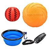 REXWAY Dog Flying Disc & IQ Treat Ball Toy Set, 2017 New Outdoor Play Kit with Collapsible Water Bowl and Training Clicker, Great Chewing Treat Toy & Frisbee On the Go (Set of 4)