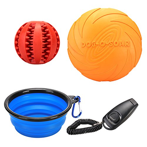 5' Small Bowl (REXWAY Dog Flying Disc & IQ Treat Ball Toy Set, 2017 New Outdoor Play Kit with Collapsible Water Bowl and Training Clicker, Great Chewing Treat Toy & Frisbee On the Go (Set of 4))