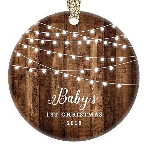Rustic Baby's First Christmas Ornament 2018, First Year Little Sister New Baby In Family Daughter 1st Xmas Dated Farmhouse Collectible Present 3