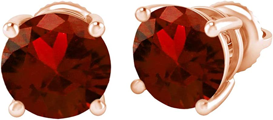 Simulated Red Garnet /& White CZ Circle Heart Stud Earrings In 14k White Gold Over Sterling Silver