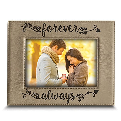 Bella Picture Frame - BELLA BUSTA - You Will Forever, be My Always Picture Frame - Engraved Leather Frame Gift for Couple (4