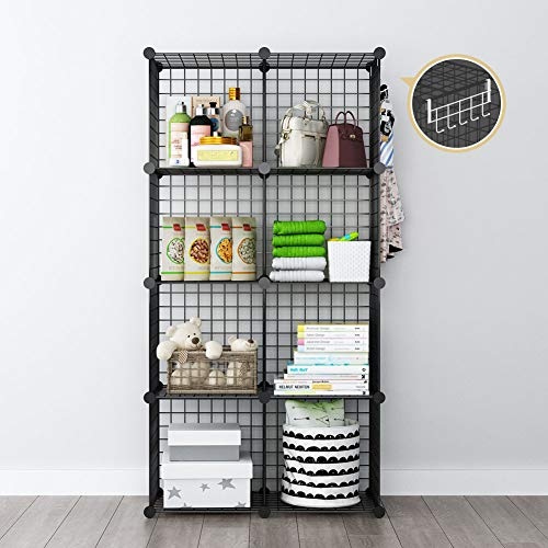 GEORGE&DANIS Wire Cube Storage Modular Shelving Unit Multi-use Metal Rack Portable Closet Organizer Wardrobe Book Shelf, Black, 14 inches Depth, 2x4 Tiers
