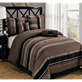Claudia Coffee Queen size Luxury 7 piece comforter set includes Comforter, Skirt, Throw Pillows, Pillow, Shams by Royal Hotel