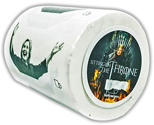 Buttswipes HILLARY CLINTON Toilet Paper Funny Gag Gift Stocking Stuffer (Sitting on The Throne) - Costume Party Theme Letter P