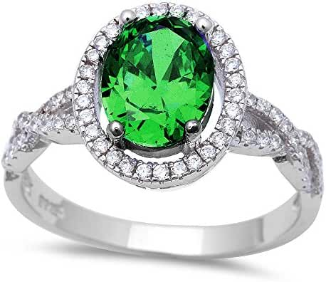 Oval Twisted Prong Simulated Green Emerald & Cubic Zirconia .925 Sterling Silver Ring Sizes 5-10