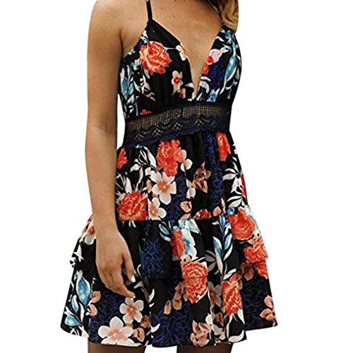 Damen Blumen Kleider Bodycon Party Abendkleid Ärmellos Strand Sommer Midikleid