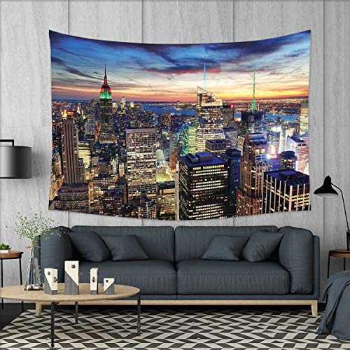 smallbeefly New York Tapestry Wall Hanging 3D Printing Skyline of NYC with Urban Skyscrapers at Sunset Dawn Streets USA Architecture Beach Throw Blanket 60