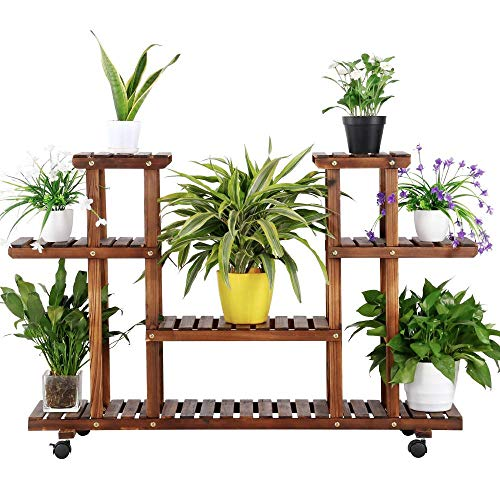 (Yaheetech 4-Layer Wooden Flower Stands Rolling Flower Plant Display Shelf Storage Rack Ladder Stand Rack Corner Plant Stand Living Room Balcony Patio Yard Outdoor Indoor Ample 12 Pots Brown )