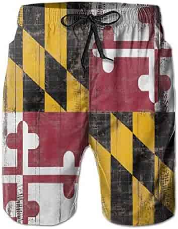 663feae551 balloon heart Flag of Maryland Woody Texture Mens Beach Pants Swimming  Trunks Quick Dry Boardshorts with