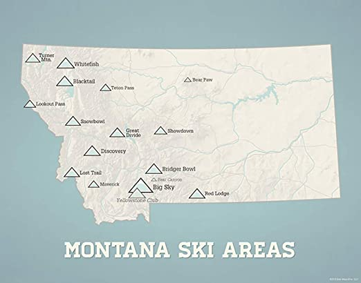 ski areas in montana map Amazon Com Montana Ski Resorts Map 11x14 Print Beige Opal Blue