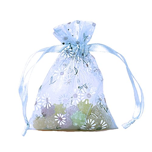 Daisies Printed Organza Bags 3 1/2