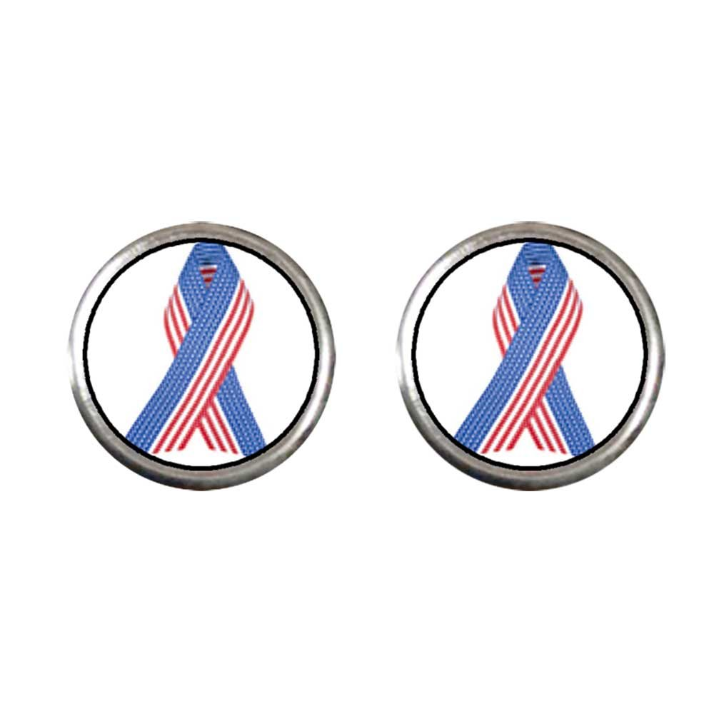 GiftJewelryShop Silver Plated Patriotic Ribbon Photo Stud Earrings 10mm Diameter