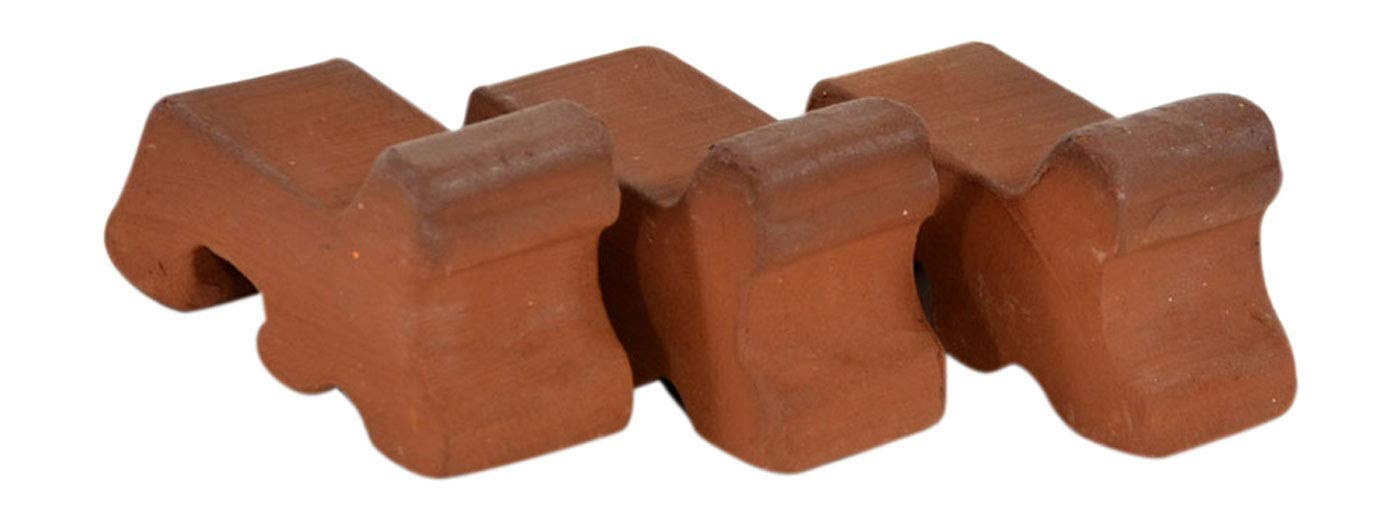 RooPottery - 3 Ceramic Pot Feet- Natural - Pot Risers - For Use With Indoor and Outdoor Flower and Garden Pots - Decorative Clay Riser For Planter - Frost Proof Plant Pot Lifters - Made in the USA