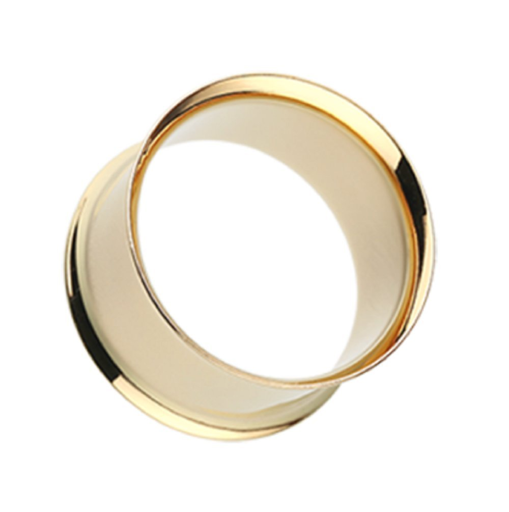 Freedom Fashion Gold Plated Double Flared Ear Gauge Tunnel Plug (Sold by Pair) (7/16'') by Freedom Fashion