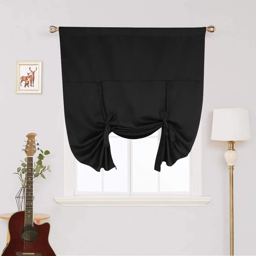 "RUIFUU Blackout Curtains Tie up Roman Shades for Kitchen Window, Thermal Insulated Valance Balloon Blinds for Bathroom Bedroom Window (Black, Rod Pocket Curtain Panel, 46"" W x 63"" L)"
