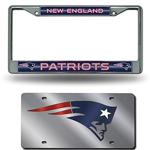 Rico New England Patriots NFL Glitter Bling Chrome License Plate Frame and Patriots Laser Cut Auto Tag
