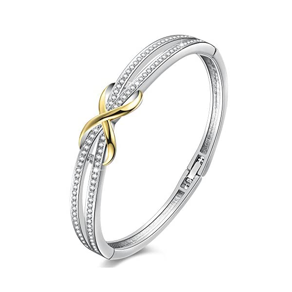 Angelady 14K Gold Plated Encounter Bangle Bracelet for Women Girls,Crystals from Swarovski,Infinity Lucky Endless Love to her