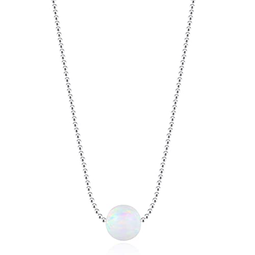 Carleen White Gold Plated Sterling Silver Minimalism Tiny Disc 8mm Ball Heart Created White Fire Opal Dainty Choker Pendant Necklace for Women Girls,16 2 inch