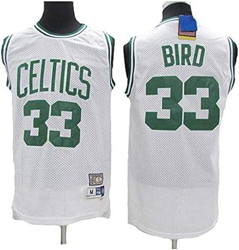 170cm//50~65kg BXWA-Sports Basketball Jersey # 33 Boston Celtics Larry Bird Respirant Wear Basketball r/ésistant Uniform Fitness Sport T-Shirt Maillots de comp/étition,Vert,S
