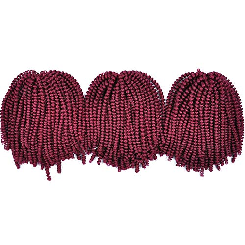 MYCHANSON 3 Pack Afro Spring Twist Crochet 8inch Fluffy Braids Bomb Twist Crochet Synthetic Jamaican Bounce Hair Extension (Wine Red) (Twist Red Wine)