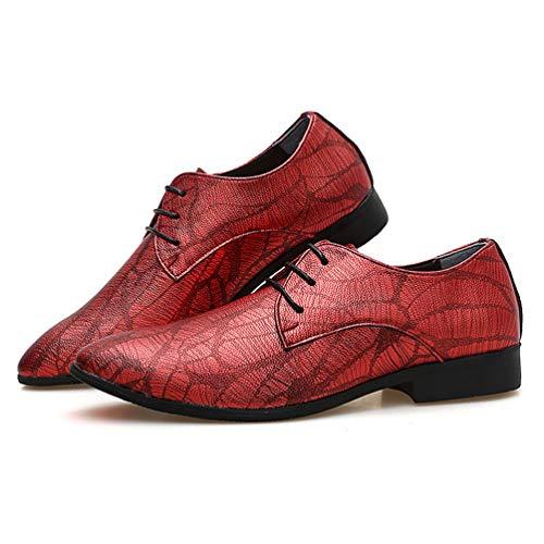 Rojo Hombres de Formal para Cuero Zapatos Calzado Oxford de Zapatos Boda la Hombre 7Utxr7d