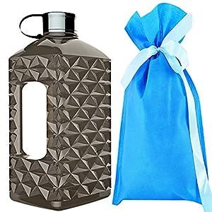 2.2 Litre(74OZ) Sport Water Bottle -Drinking Bottle- Portable Diamond Lattice Water Jug Durable & Extra Strong - BPA Free(Black)…